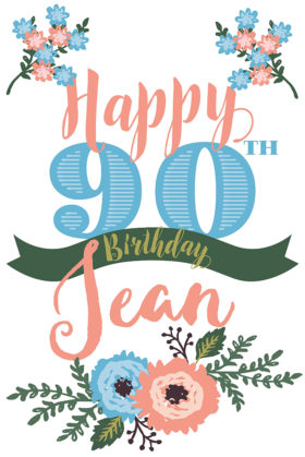 Jean Hardy's 90th Birthday Poster